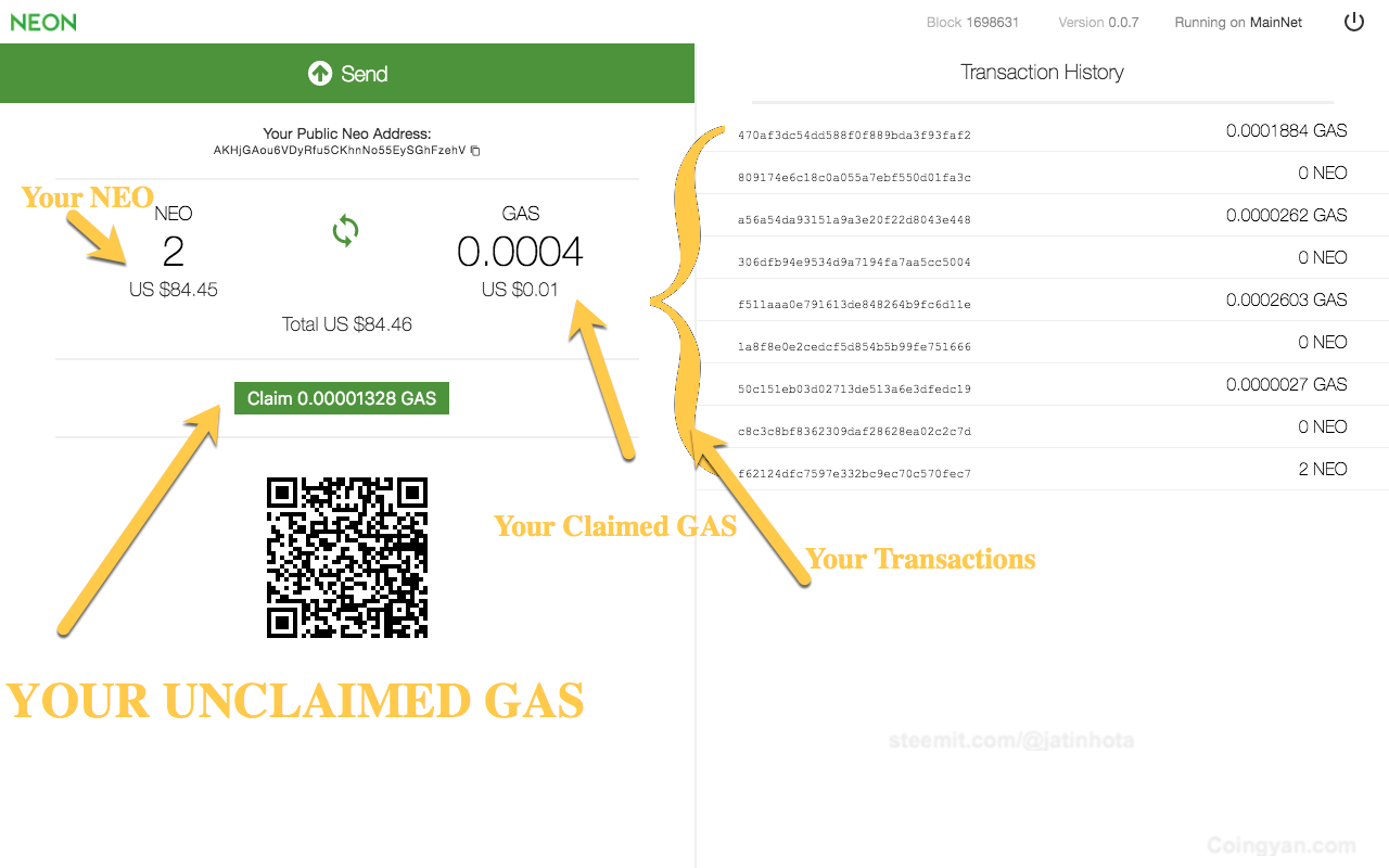 Claim GAS using ledger nano s-1