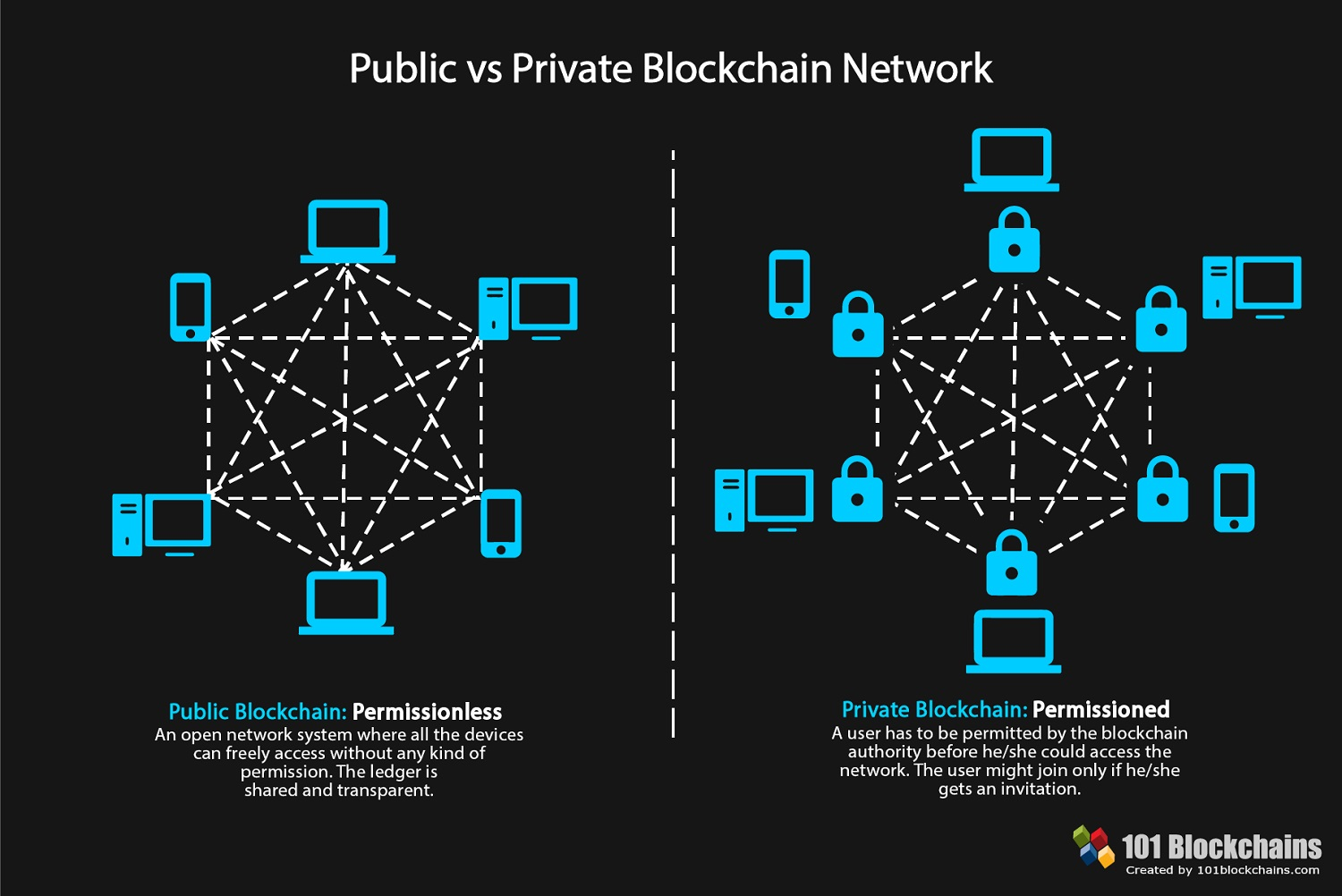 Private and public blockchain