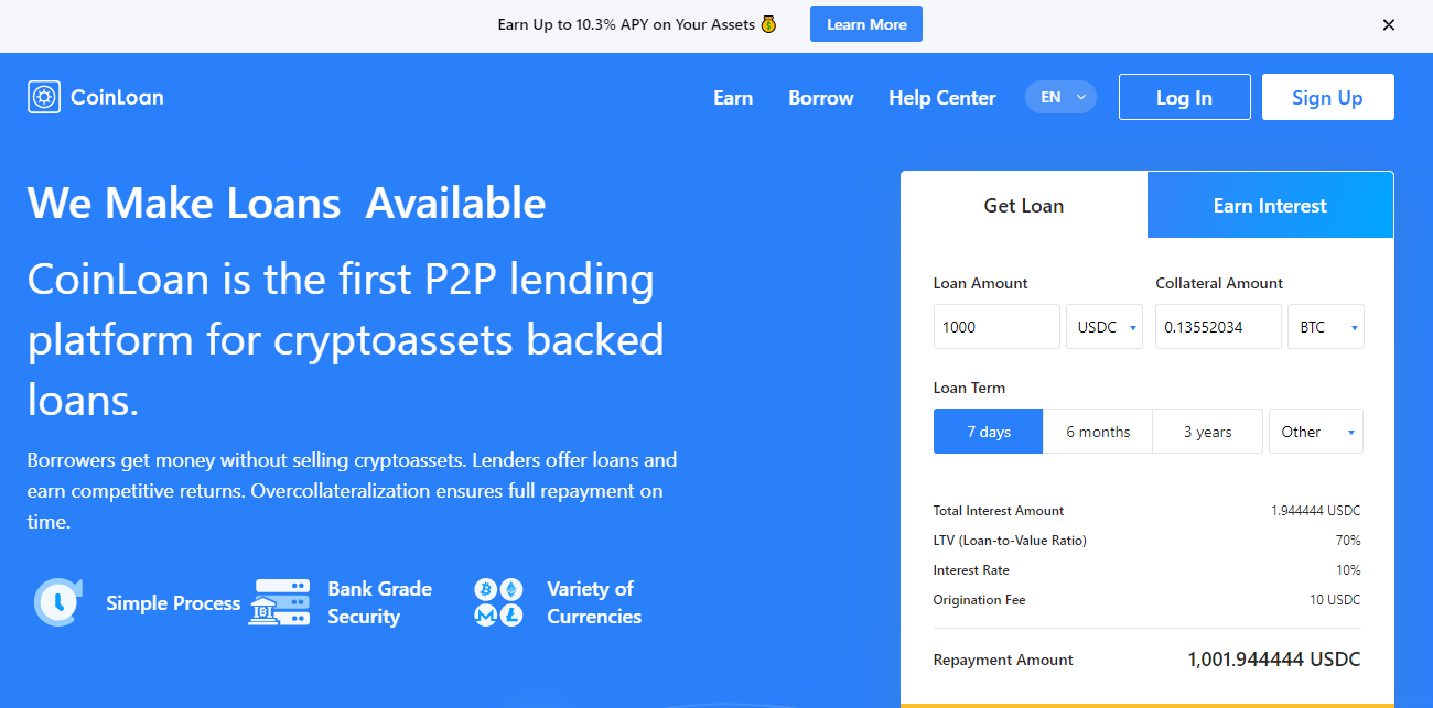 CoinLoan Cryptocurrency Platform