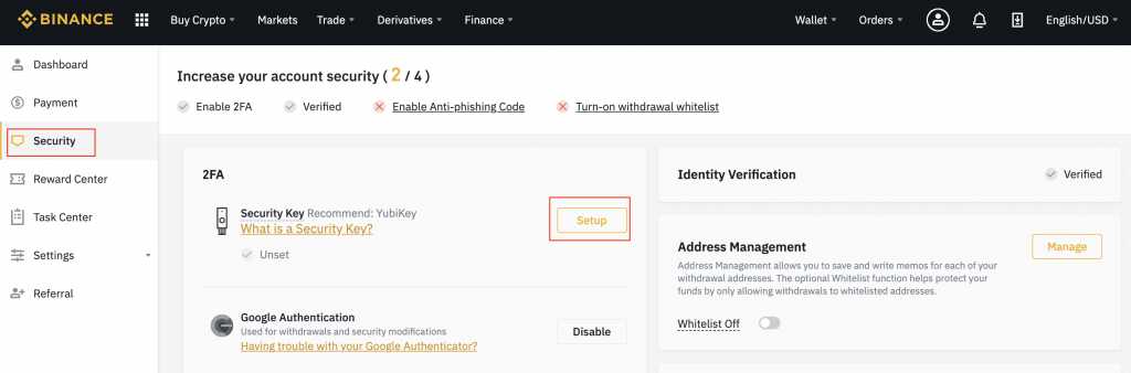 How to set up U2F in Binance- CoinGyan